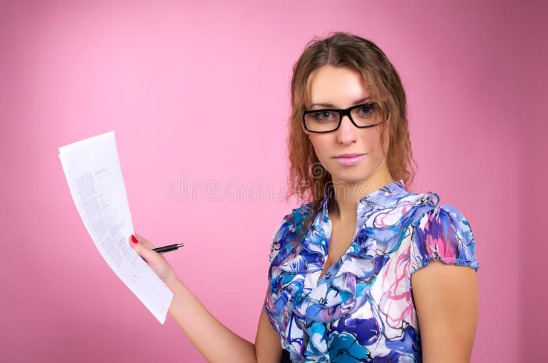Cute business woman holding stock photos