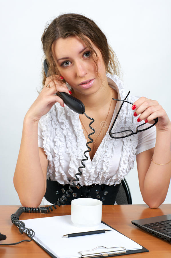 Download Cute Business Woman Talking Phone Royalty Free Stock Photography - Image: 18586367