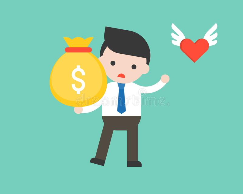 cute businessman in business situation concept, heart flying away left him with big bag of money, lack balance between job income royalty free illustration
