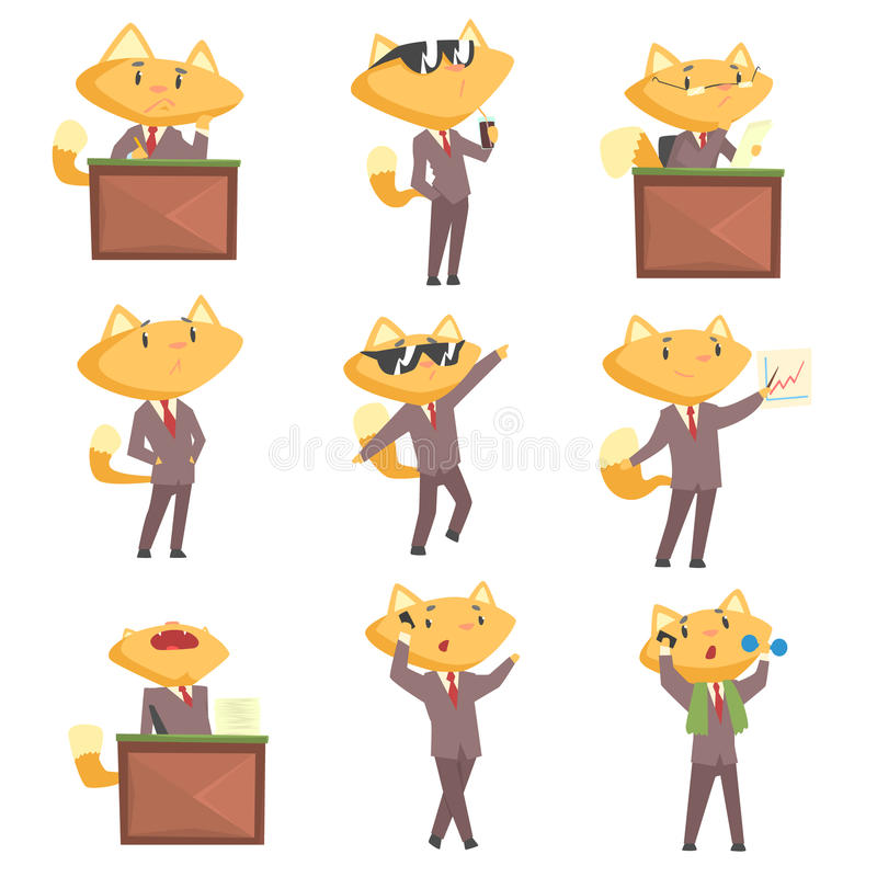 Cute businessman fox character at work and rest, funny cat in different situations set of cartoon colorful Illustrations vector illustration