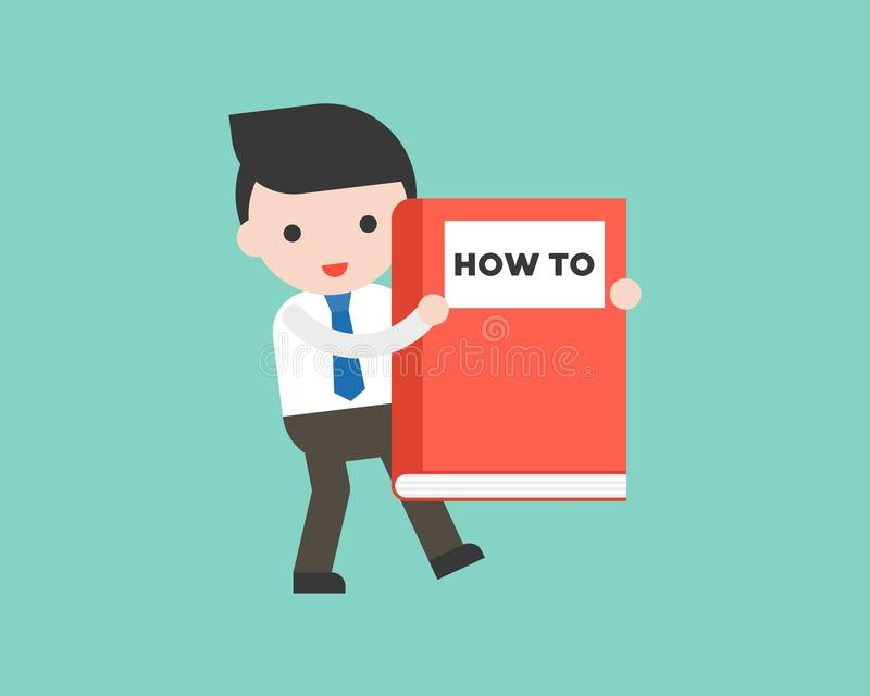 Cute Businessman or manager carrying how to big book, ready to u royalty free illustration