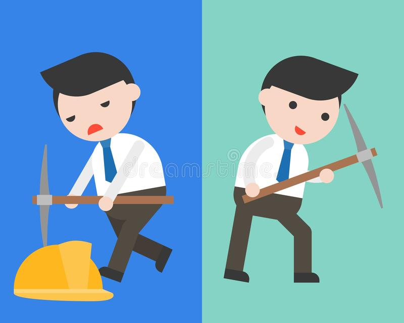 Cute Businessman or manager with pick axe in two mode, full of e vector illustration