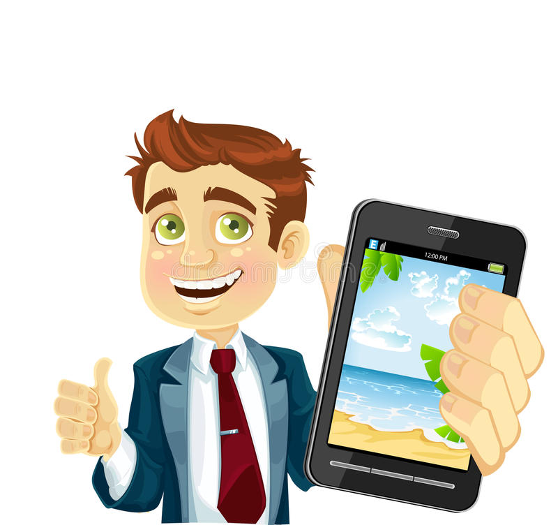 Download Cute Businessman In A Suit Shows A Photo Resort Stock Illustration - Illustration: 25000139
