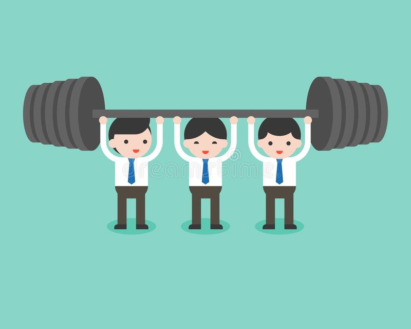 Cute businessman team help each others for weight lifting, business situation teamwork concept royalty free illustration