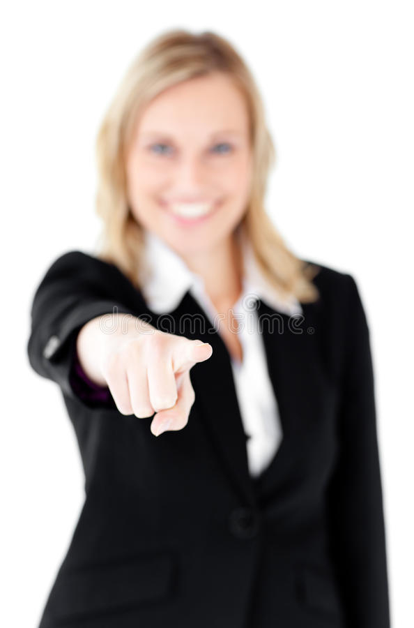 Download Cute Businesswoman Pointing At Camera With Finger Stock Image - Image: 15438141