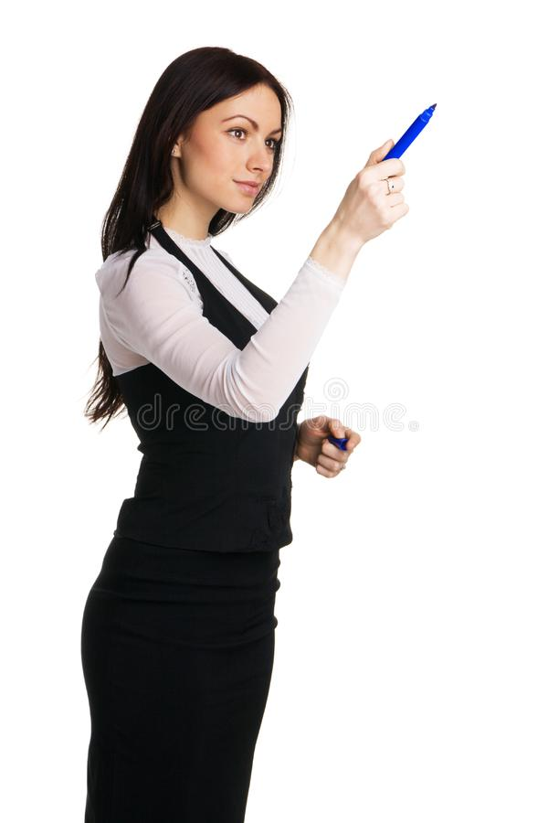 Download Cute Businesswoman Writing With A Marker Stock Photo - Image of executive, modern: 14881998