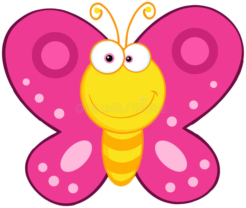 Cute Butterfly Cartoon Character royalty free illustration