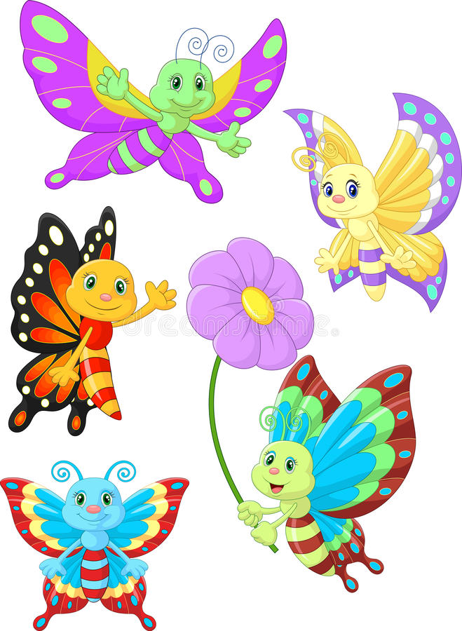 Cute butterfly cartoon collection set royalty free illustration