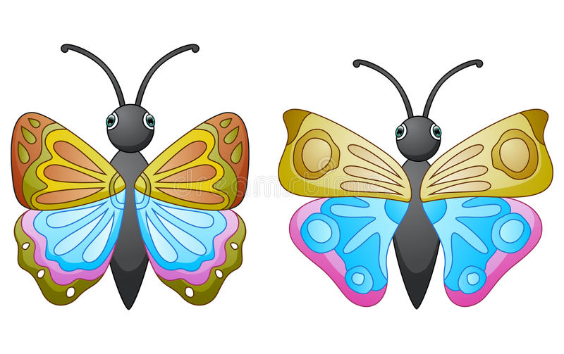 Cute butterfly cartoon stock illustration