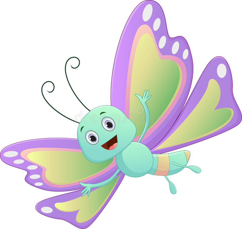 Cute butterfly cartoon stock vector. Illustration of ...