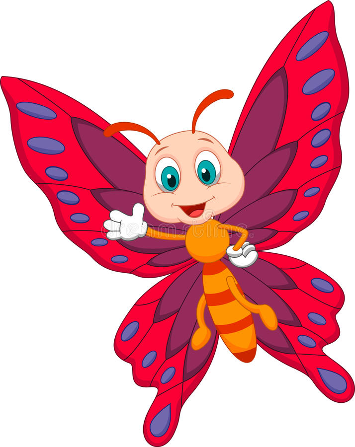 Cute butterfly cartoon waving royalty free illustration