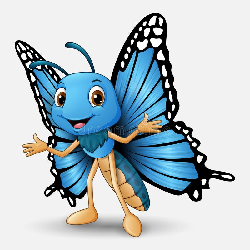 Cute butterfly cartoon on white background stock illustration