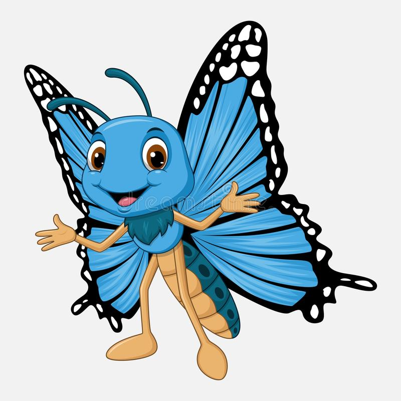 Cute butterfly cartoon on white background vector illustration