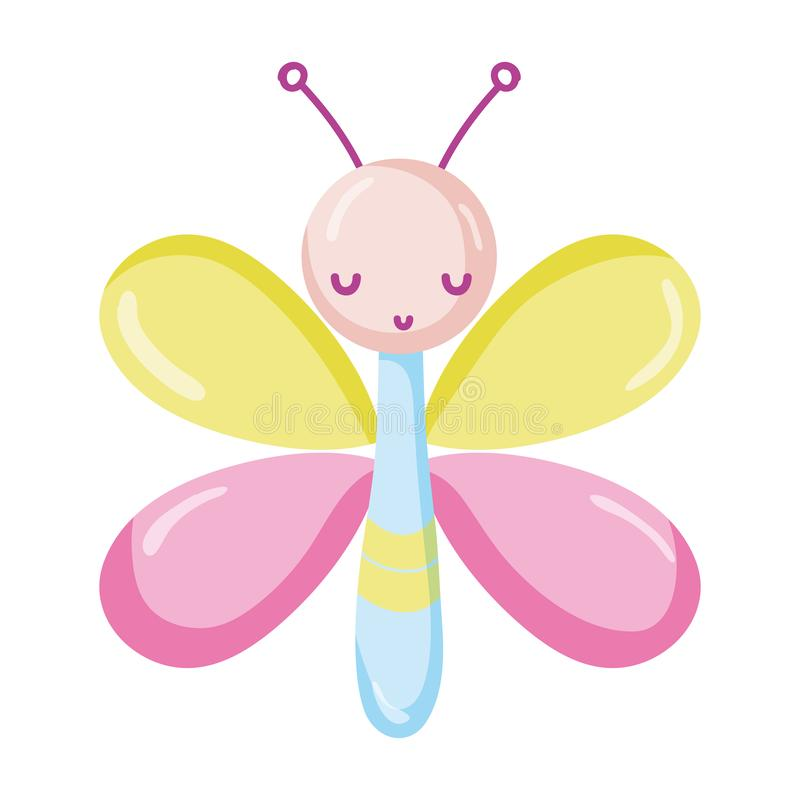 Cute butterfly insect animal with wings. Vector illustration stock illustration