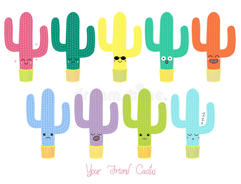 Cute cacti with different faces vector illustration