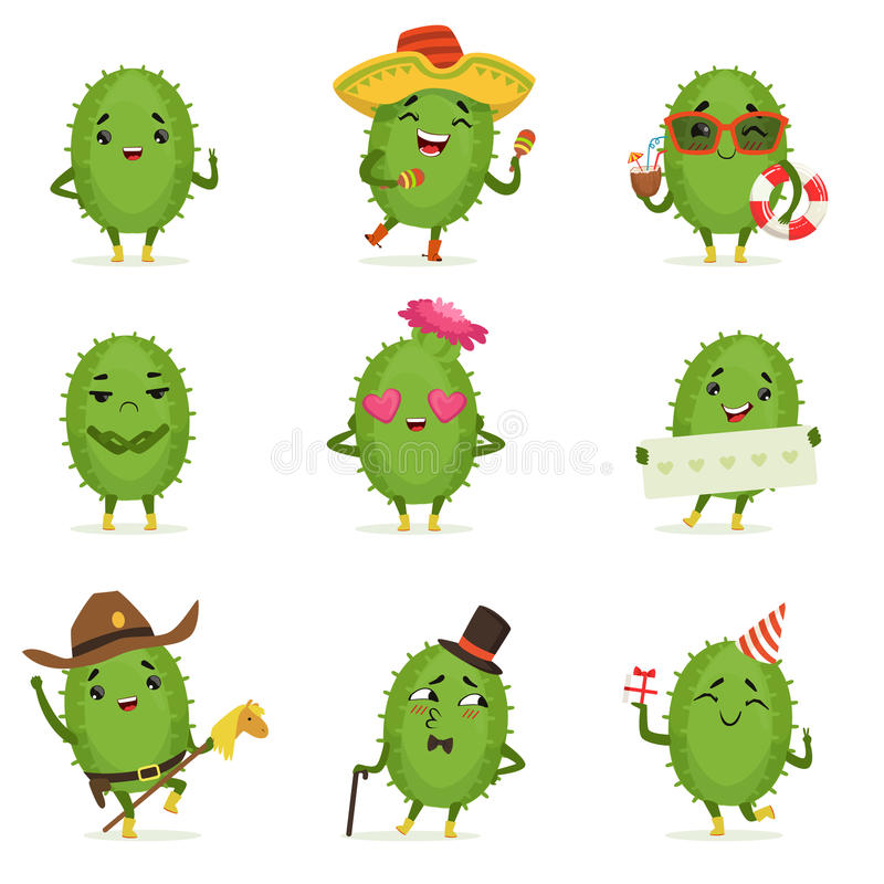 Cute cactus cartoon characters set, cacti activities with different emotions and poses, colorful detailed vector vector illustration