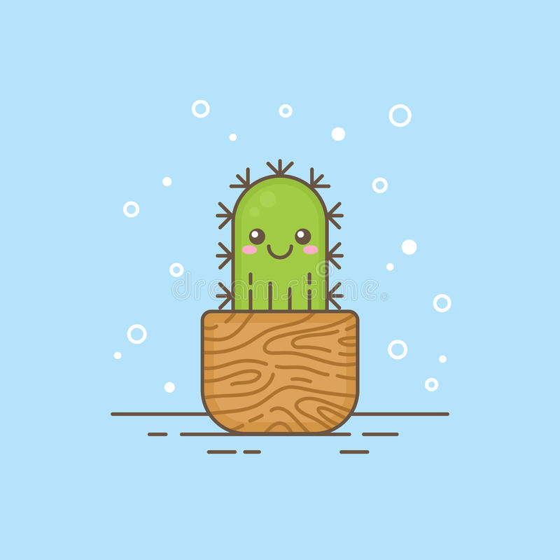 Cute cactus character thin lined icon, logo template design. royalty free illustration