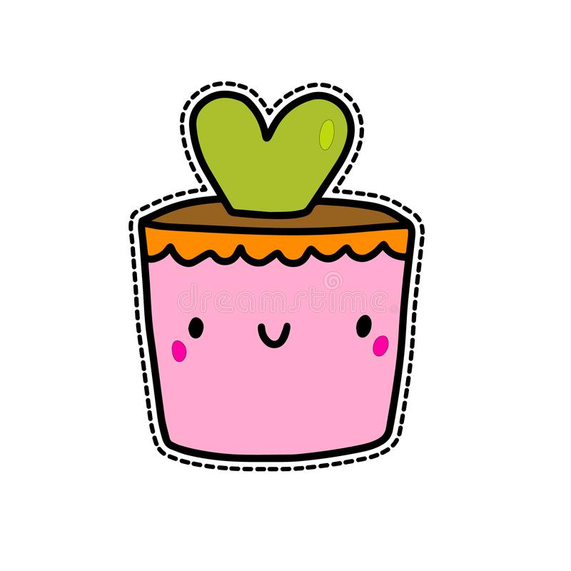 Cute cactus hear form in pink pot hand drawn vector illustration sticker in cartoon style stock illustration