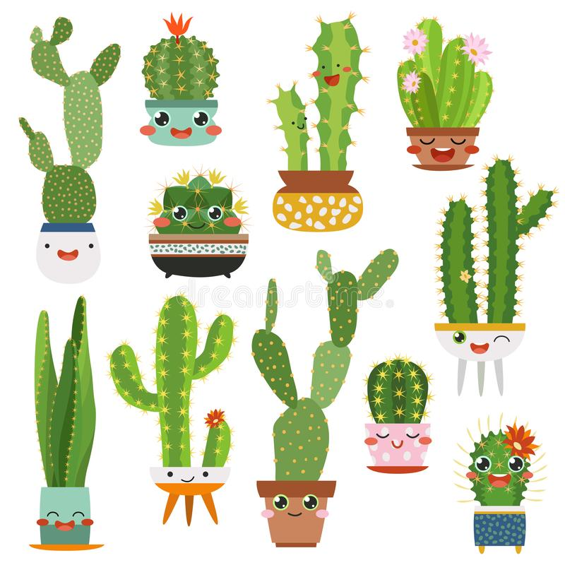 Cute cactus pots. Happy face cartoon succulent cacti funny flower smile plant lovely friends, desert garden cactuses royalty free illustration