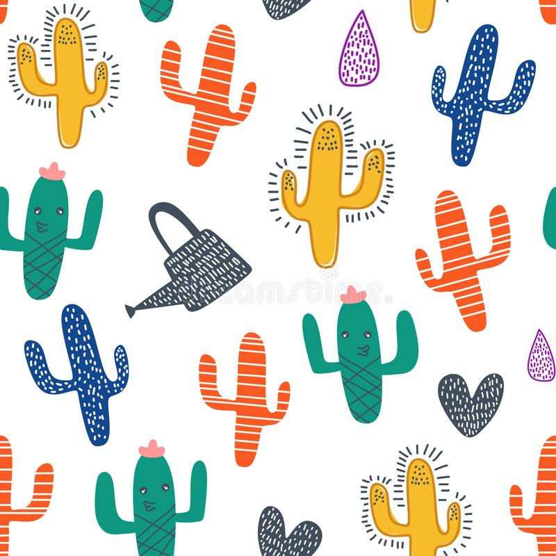 Cute cactus seamless pattern with colorful nursery background for fashion textile wrapping and print. Vector illustration hand vector illustration