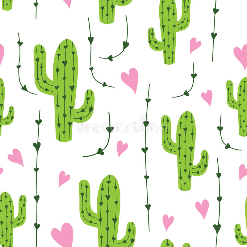 Cute cactus seamless pattern with hearts in green, pink and white colors. Natural vector background royalty free illustration