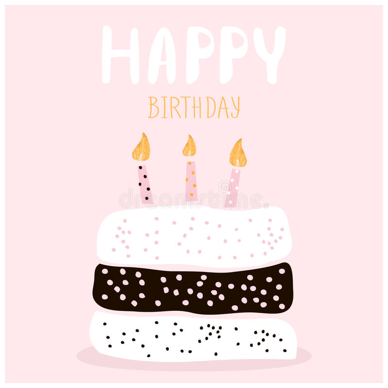 Cute Cake With Happy Birthday Wish. Greeting Card Template. Creative ...