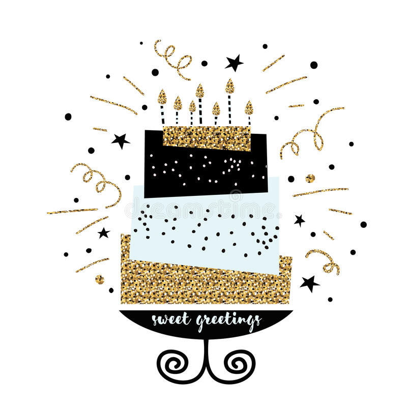 Cute cake with happy birthday wish. Modern greeting card template. Creative happy birthday background. stock illustration