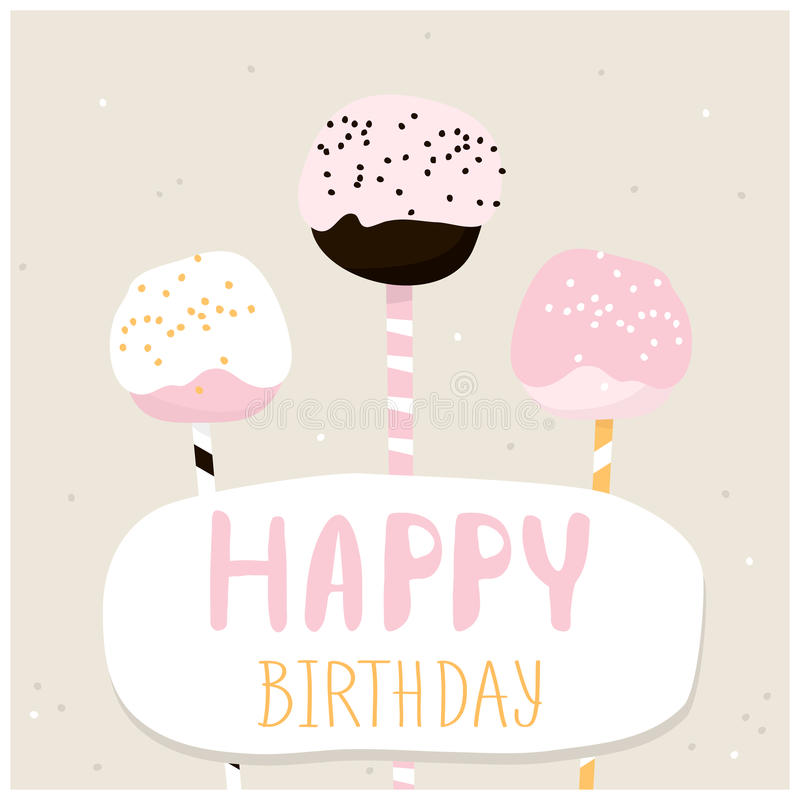 Cute Cake Pops With Happy Birthday Wish. Greeting Card