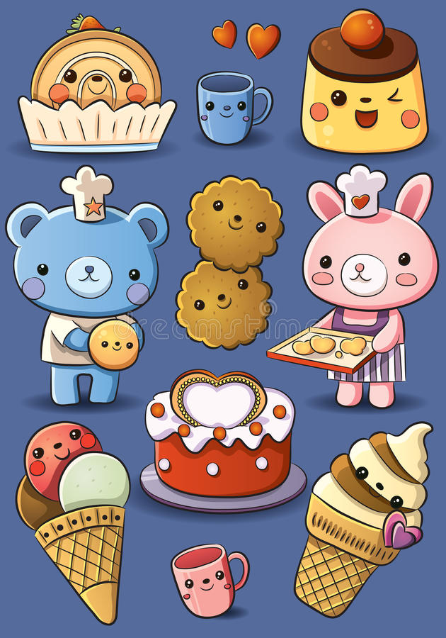 Cute Cakes and Ice Cream stock illustration