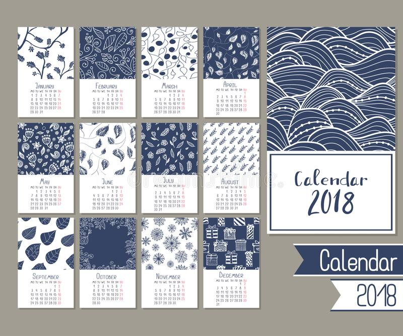 Cute calendar for 2018 royalty free stock photos