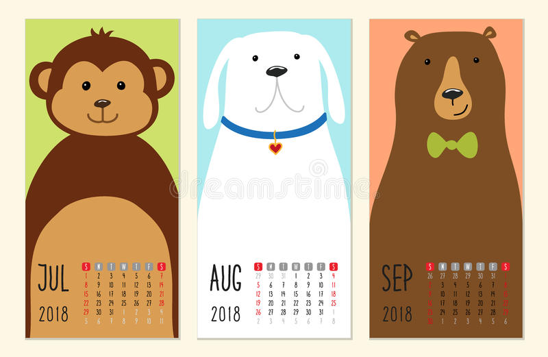 Cute 2018 calendar pages with funny cartoon animals characters. For your decoration vector illustration