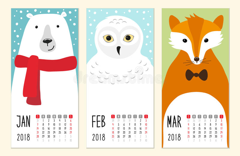 Cute 2018 calendar pages with funny cartoon animals characters. For your decoration royalty free illustration
