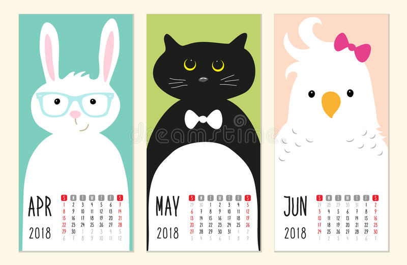 Cute 2018 calendar pages with funny cartoon animals characters. For your decoration stock illustration