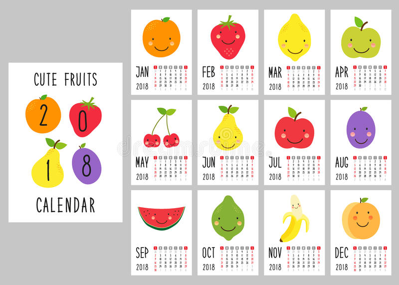 Cute 2018 calendar pages with smiling fruit characters and retro hand written thin font stock illustration