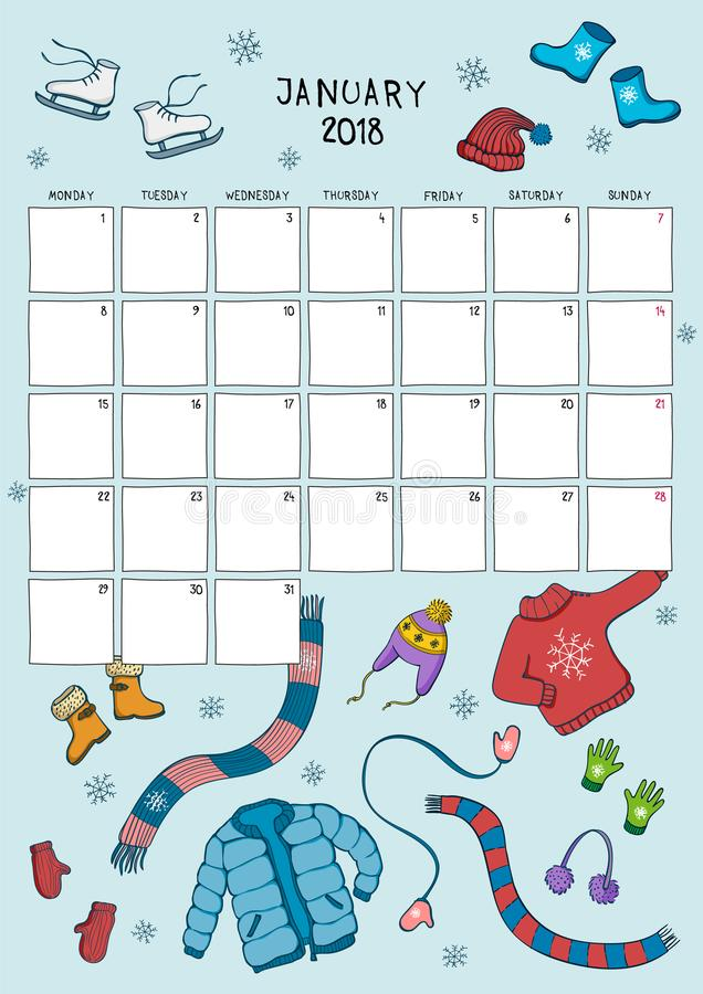 Cute calendar and planner for January 2018. Blue background royalty free illustration