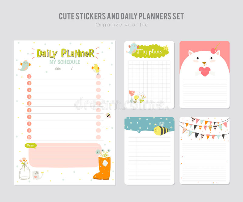 Cute Daily Calendar Template Stock Vector  Illustration Of