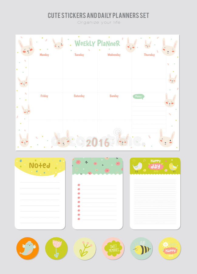 Cute Daily Calendar Template Stock Vector Illustration Of Memo