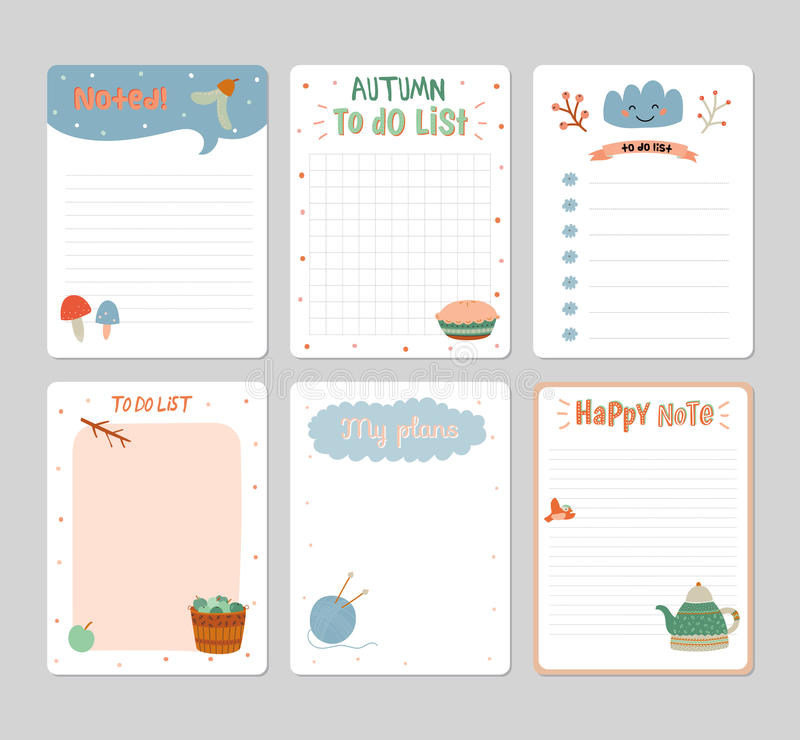 Cute daily calendar and to do list template stock vector cute daily calendar and to do list template note paper and stickers set with vector autumn illustrations good for kids fun background saigontimesfo