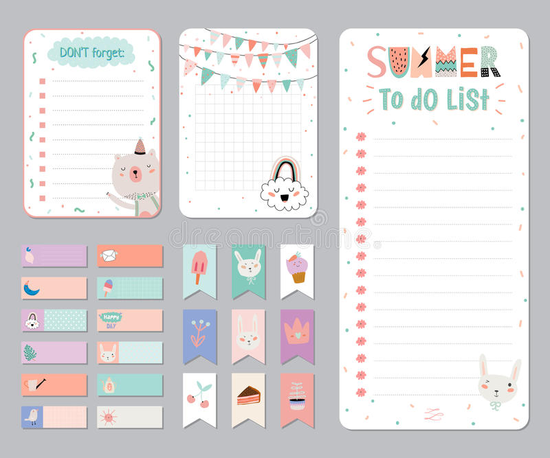Cute Calendar Daily and Weekly Planner royalty free illustration