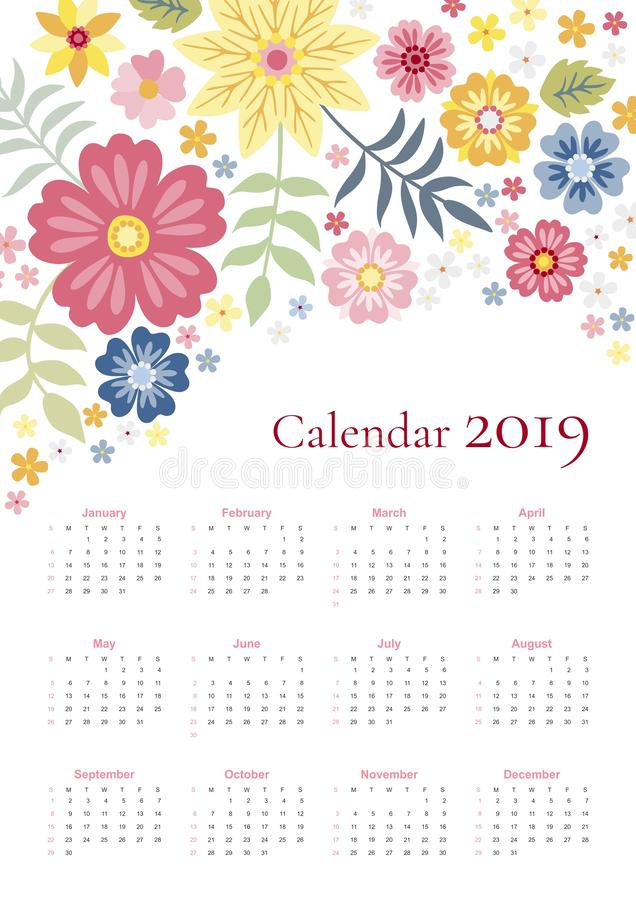 Cute calendar for 2019 year. Week starts on sunday. Vector template with bright floral ornament of colorful flowers and leaves stock illustration