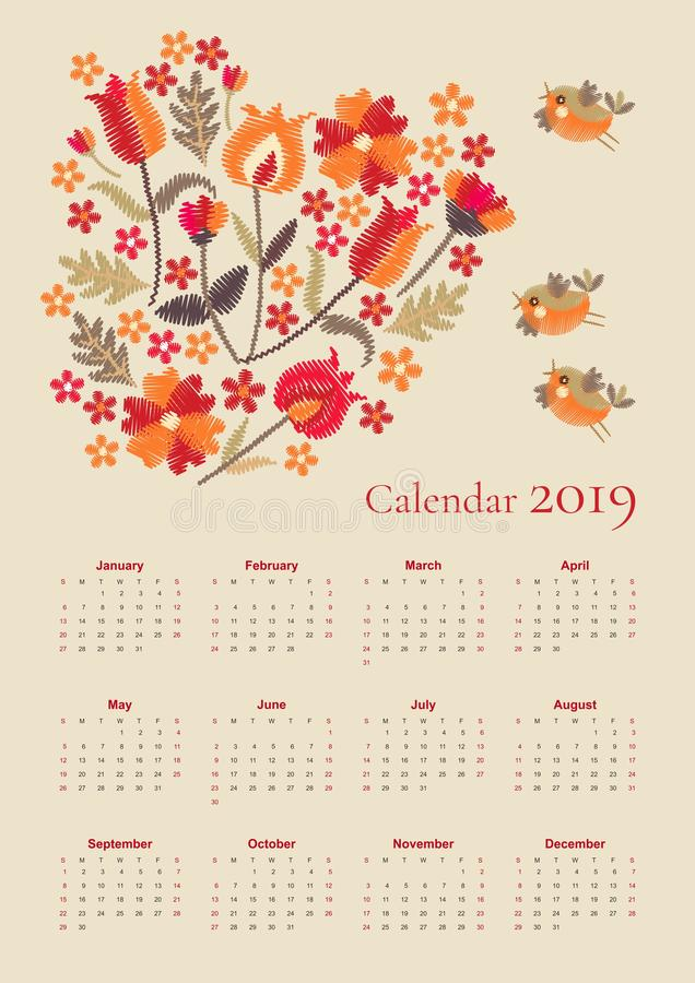 Cute calendar for 2019 year. Week starts on sunday. Vector template with embroidered bouquet of flowers and flying birds stock illustration
