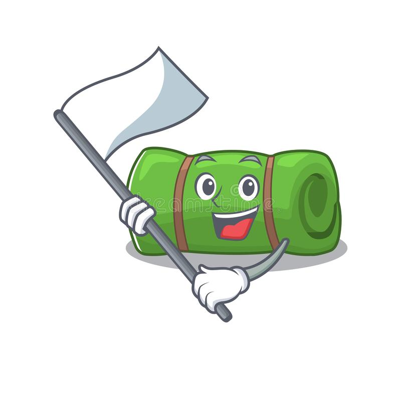 Cute camping mat Scroll cartoon-tekenstijl met staande vlag stock illustratie