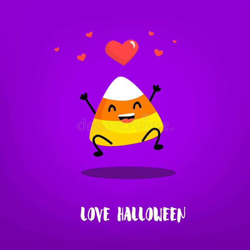 Cute candy corn jumps with hearts on violet background. royalty free illustration