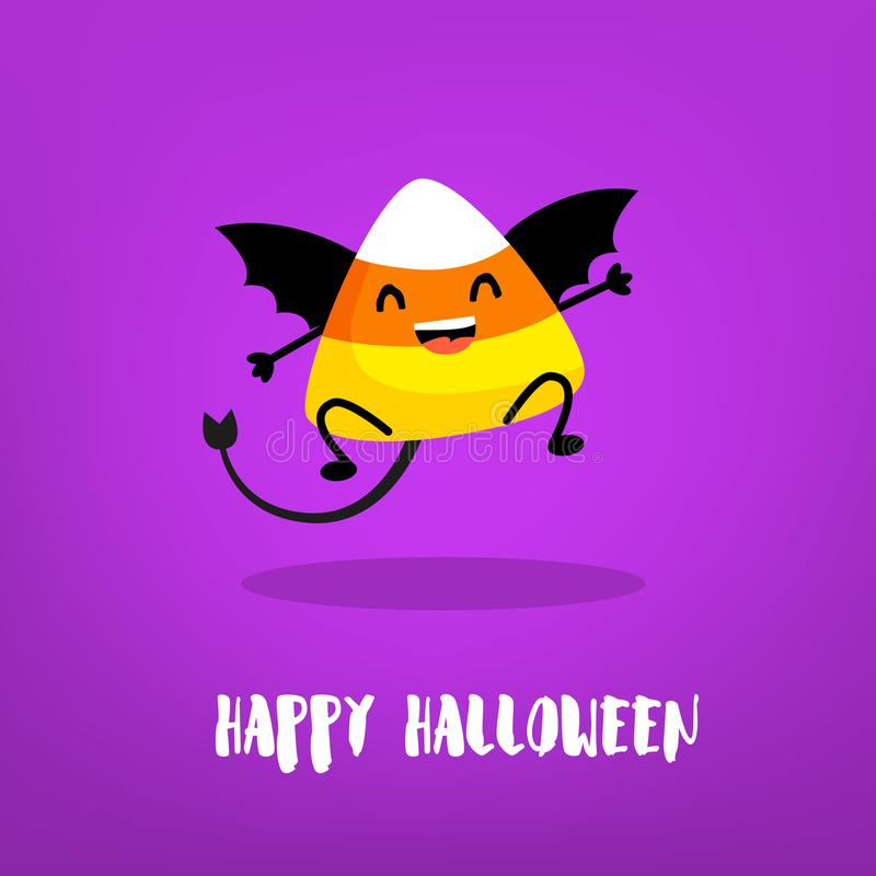 Cute candy corn with wings and devil tail on violet background. Flat style. Happy Halloween card. Vector royalty free illustration