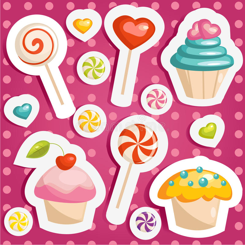 Cute candy stickers. Vector illustration royalty free illustration