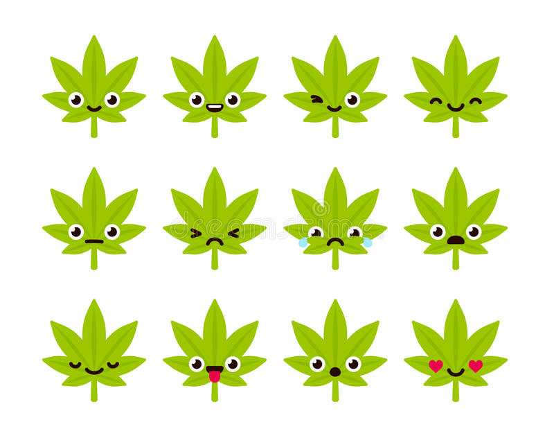 Cute cannabis emoticons. Cute emoticon set: adorable cartoon cannabis leaf with different emotions. Flat vector illustration stock illustration