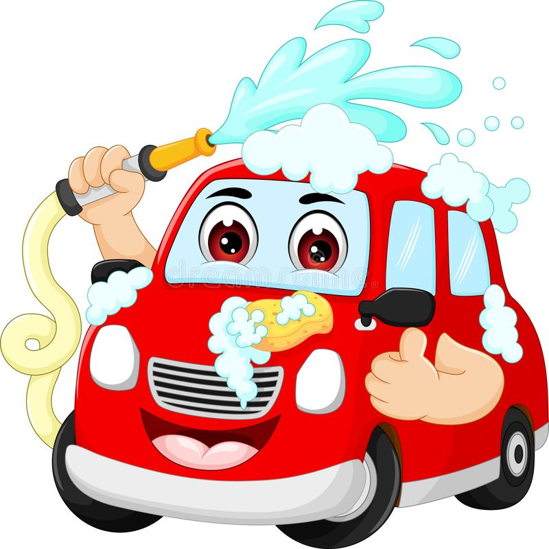 Cute car cartoon washing with smile and thumb up. Pict of cute car cartoon washing with smile and thumb up stock illustration