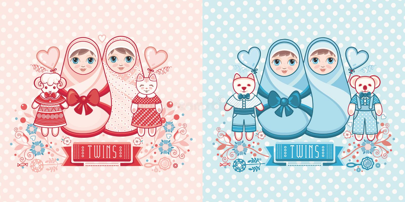 Baby Shower greeting card. Cute card for babies. Delicate colors. Baby Shower greeting card with babies boy and girl. Matryoshka design. newborn baby greeting stock illustration