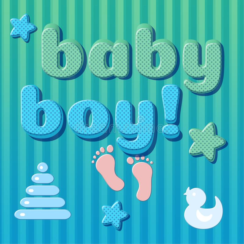 Cute card baby newborn in blue, green colors 3D vintage font effect with text Baby boy stock illustration