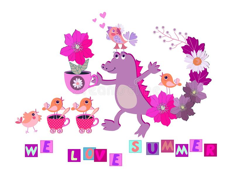 Cute card with cheerful croc, flowers, little funny birds, pink hearts and text `We love summer` on white background. royalty free illustration